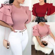 New Hot Sale 2019 Women Summer Blouse Plus Size Flare Sleeve Ruffles Blouses OL Work Solid Color Ladies Top Shirts