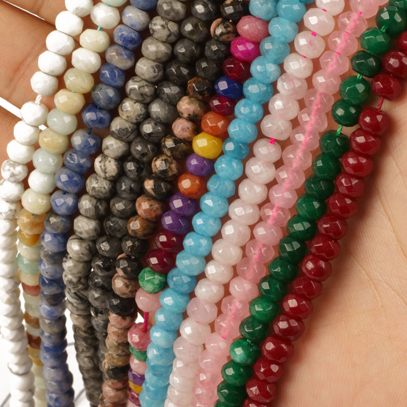 2-4mm 4-6mm Natural Stone Flat Jades Faceted Crystal Glass Beads for Jewelry Making Accessories Bracelet DIY