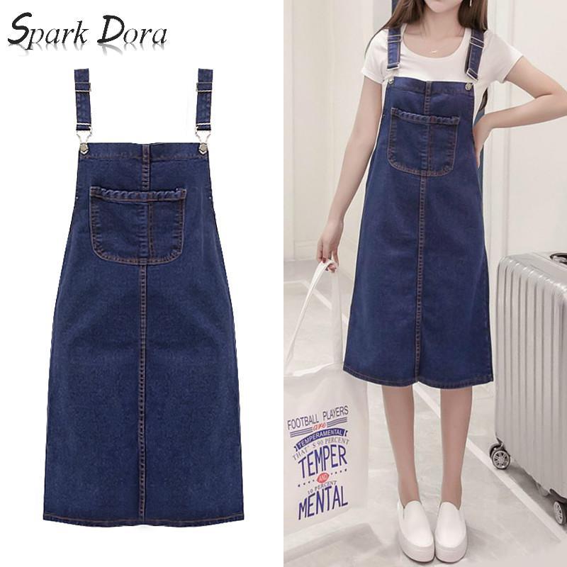 SparkDora Jeans Skirt Plus Size Skirts For Women Summer High Waist Midi Denim Skirt Straps Skirts With Pockets Female 2020 S-5XL