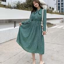 Женское платье в горошек с бантом на шее шифоновое плиссированное