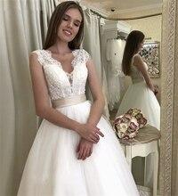Elegant V Neck Wedding Dress Sleeveless Sweep Train Tulle Lace Appliques Dresses With Sash Custom Made