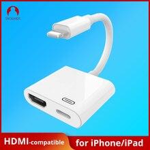 Adaptador hdmi compatível com celular snowkids, adaptador de ligação para hdmi, compatível com 4k e iphone hdmi