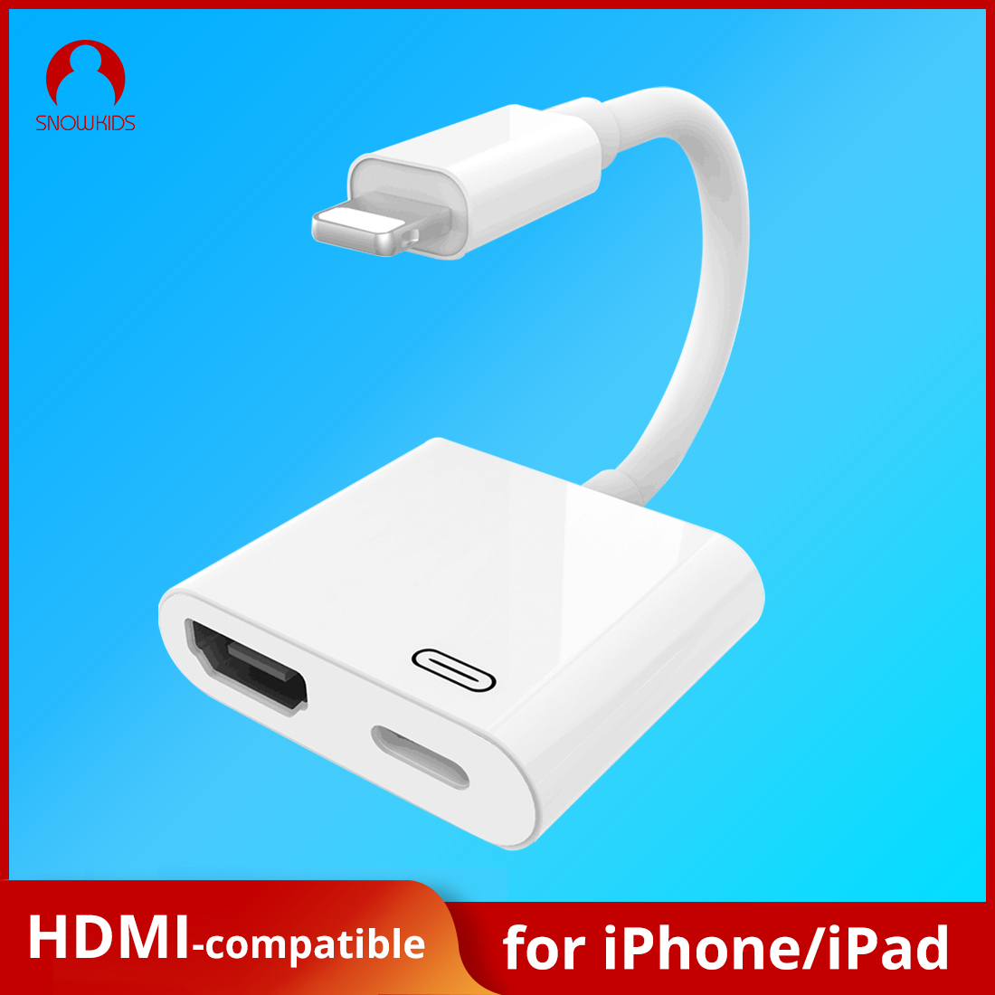 Snowkids Phone HDMI-compatible Adapter for Ligtning to HDMI-compatible Adapter 4K  iphone hdmi-compatible adapter hdmi extender