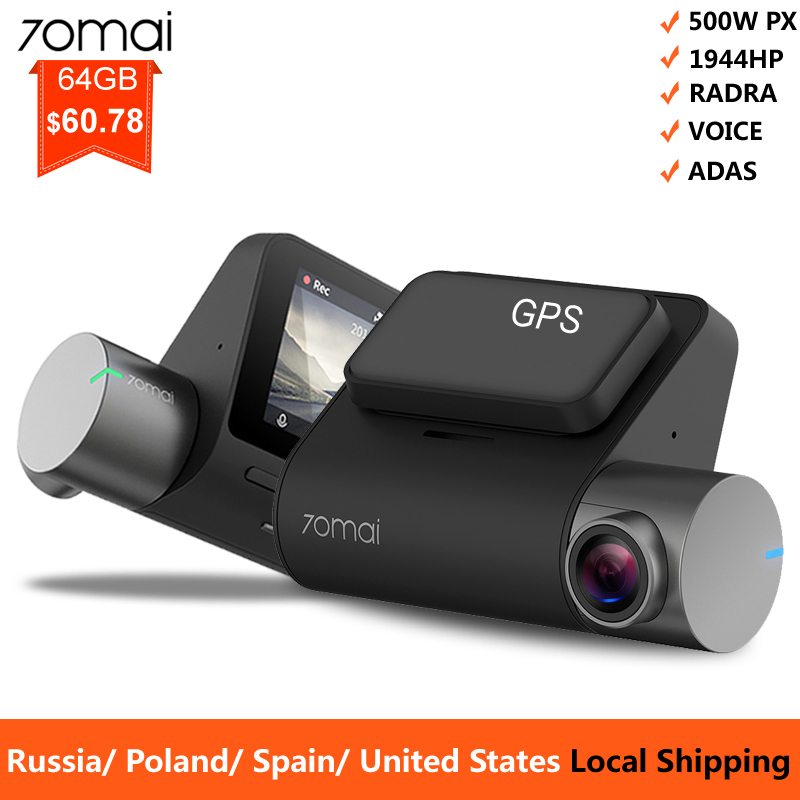 camara para auto 70mai Pro Dash Cam 1944P GPS adas car camara coche 70 mai dvr camara coche delantera grabar de Control de voz 24 HParking Monitor 140FOV la visión nocturna de la WIFI Cámara