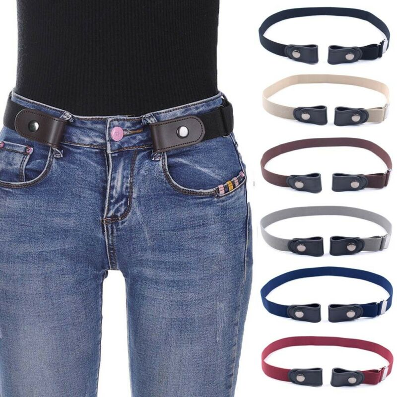 Mens Women's Buckle-Free Elastic Belts Invisible Belt For Jeans No Bulge Hassle Band