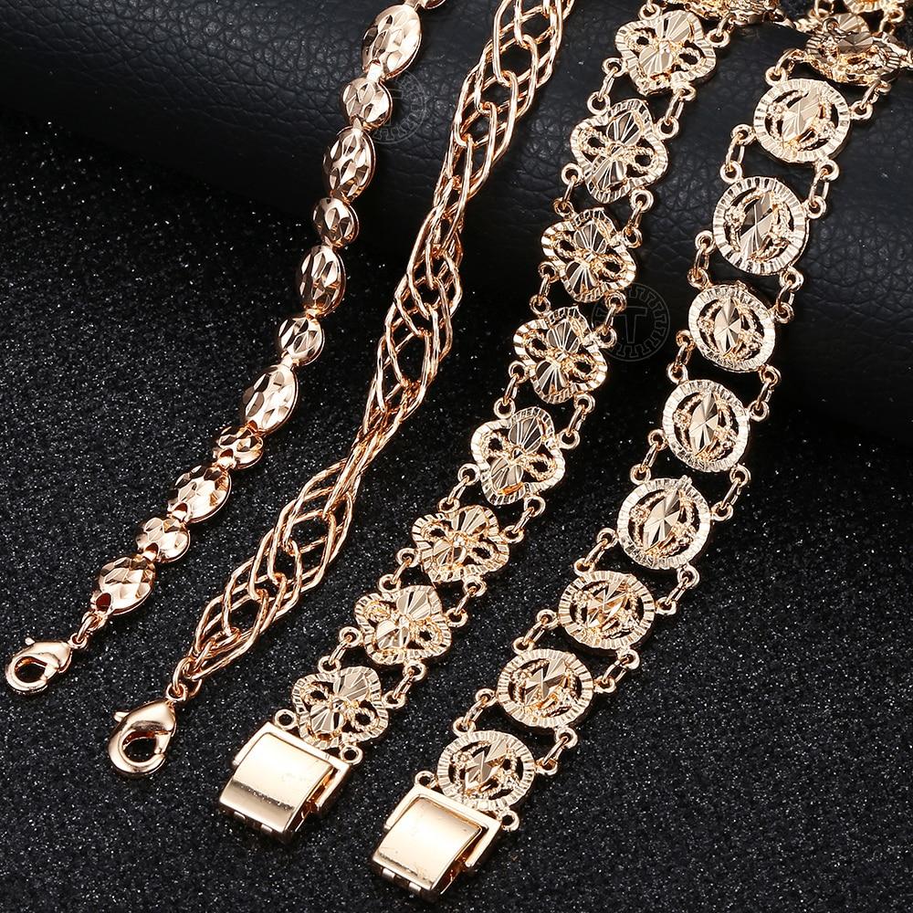 5 styles Women Men Girl 585 Rose Gold Bracelet Bangle Fashion Cut Out Carved Flower Heart Oval Wristband Chains Bracelets CBM04