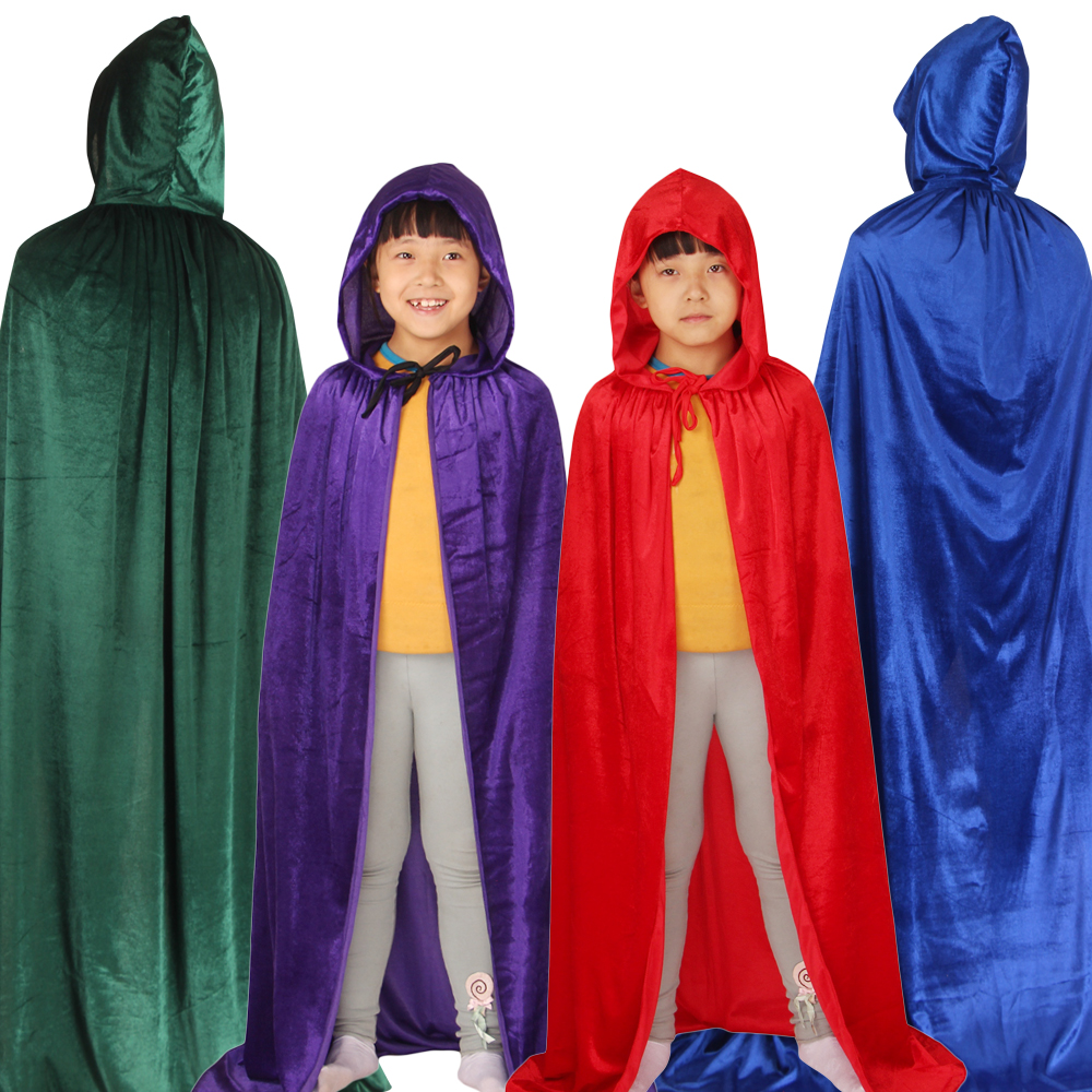 Velvet Child Halloween Christmas Cloak Hood Cape Boys Girls Cosplay Robe Costume