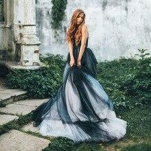 Vintage gótico blanco y negro vestido de fiesta vestidos de novia Sexy sin mangas trajes de novia con espalda descubierta tamaño personalizado bohemio vestido de novia