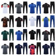 Camisa polo masculino + calças inclui suor em capuz com zíper futebol jaqueta suor em com capuz calças de treino dhihiver kit