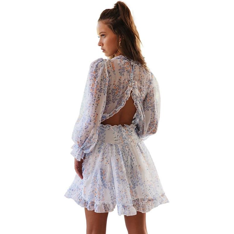 Eytino Women Sexy V Neck Long Sleeve Open Back Printed Mini Short Dresses 6