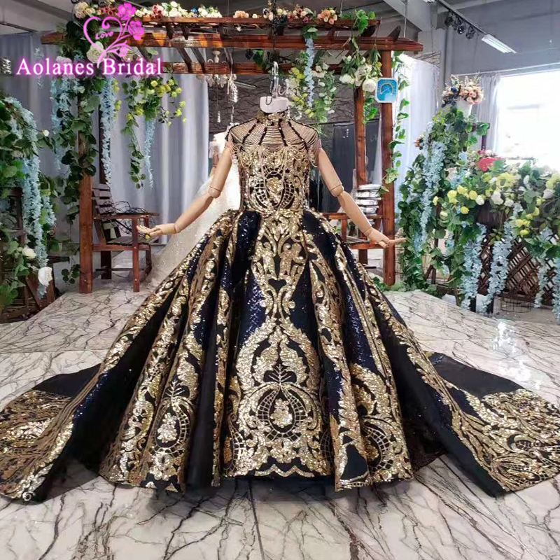 2019 High Neck Gold Lace Ball Gown Little Girls First Communion Navy Blue Pageant Gowns Lovely Flower Girl Dresses For Weddings