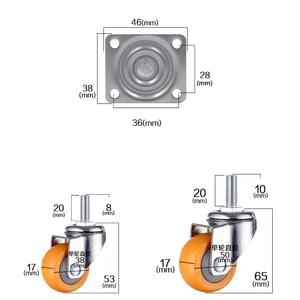 Image 3 - 4 個 1.5 インチ 38 ミリメートルヘビーデューティ 120 キロオレンジスイベルキャスター輪トロリー家具キャスターゴム