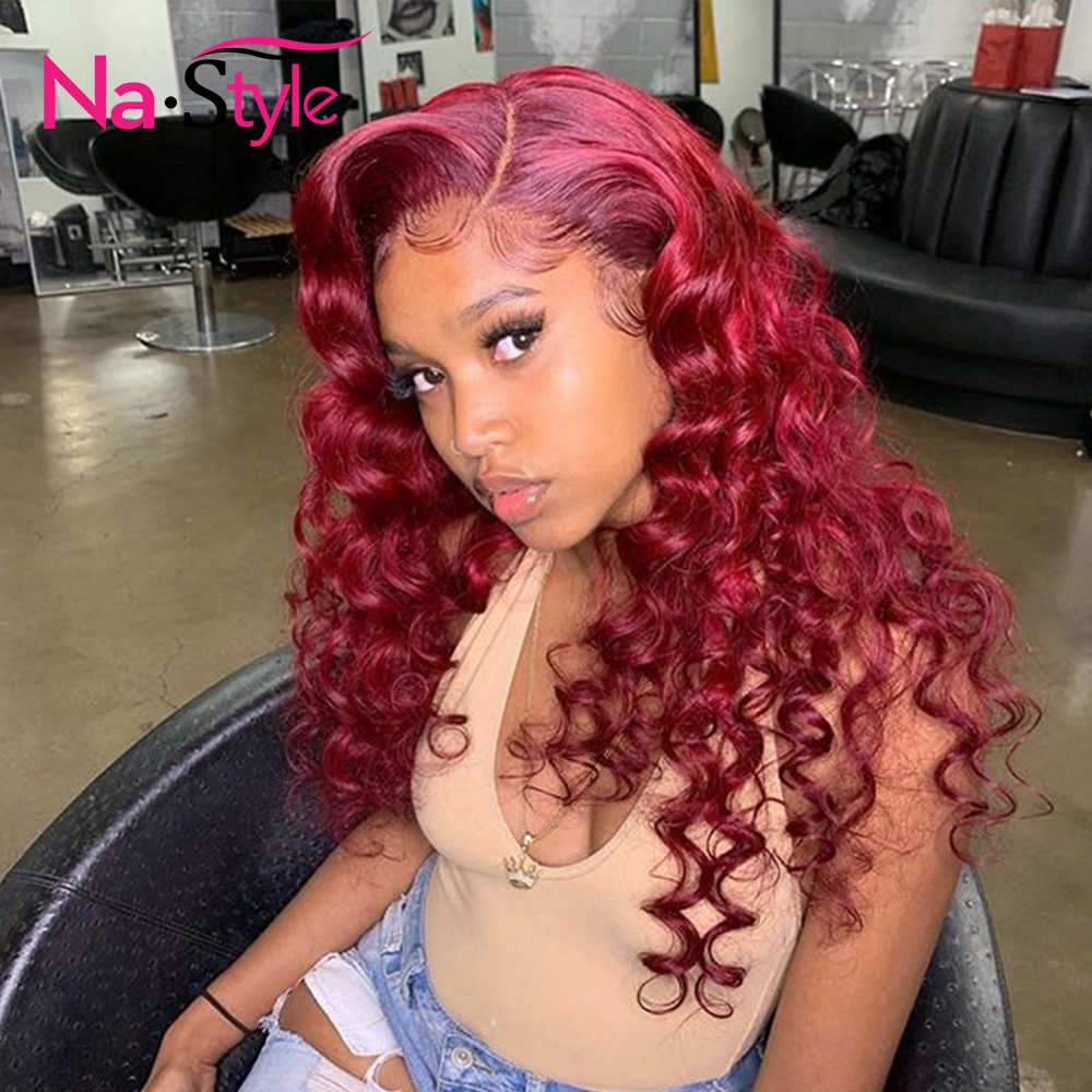 180% Density 13x6 Lace Front Human Hair Wig Lace Front Wig 99J Body Wave Human Hair Color Human Hair Lace Wig