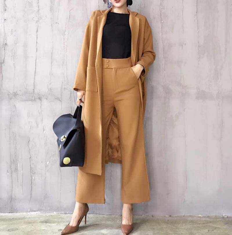 2019 Autumn Winter Women Maxi Blazers Suits Fashion Long Blazer Jacket+Wide Leg Pant Female Clothing Set for Office Outdoor