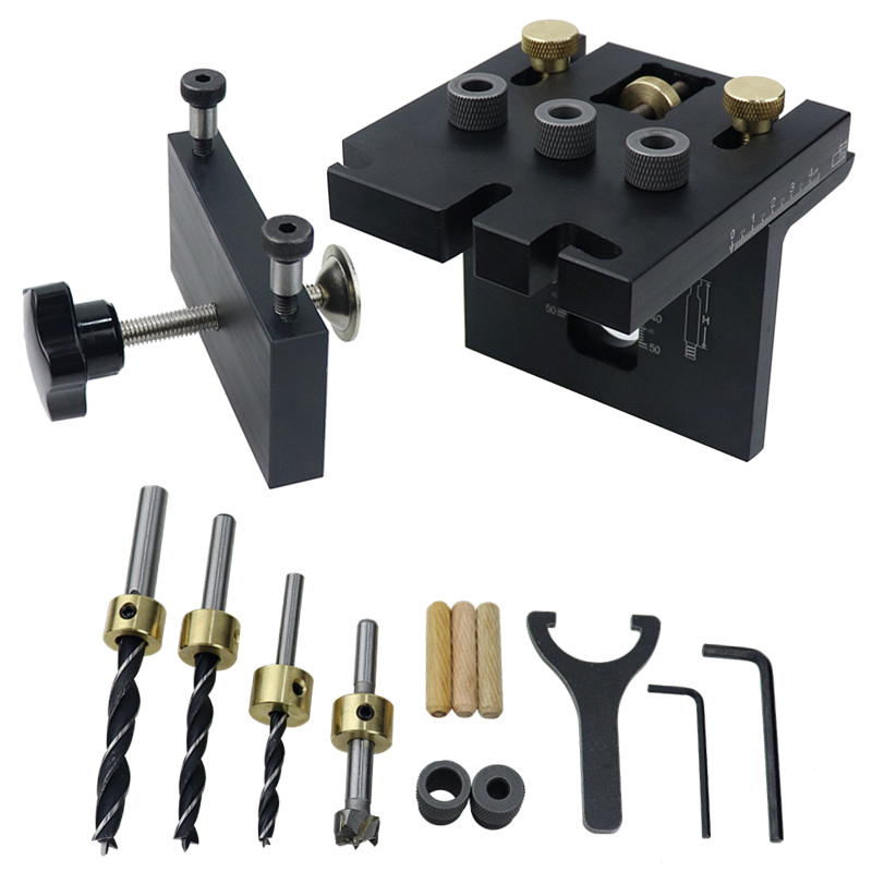 3 In 1 Woodworking Doweling Jig Kit With Positioning Clip Adjustable Drilling Guide Puncher Locator Carpentry Tools