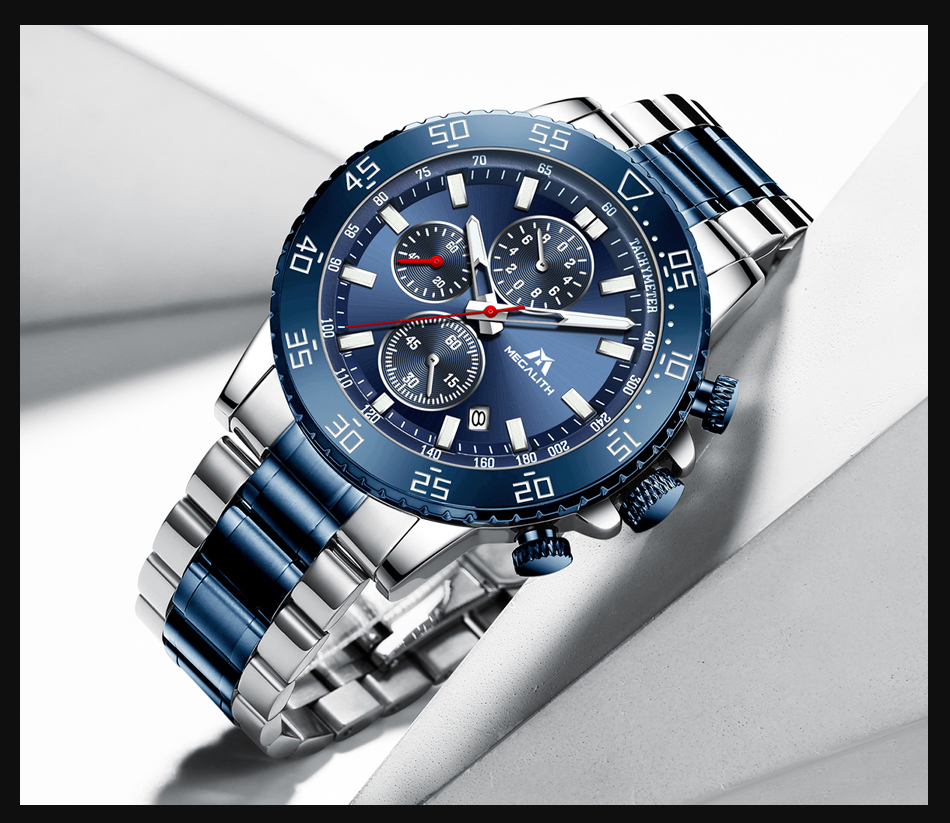 H60bde18654454d45b6fd0cf85a28b5ef5 MEGALITH Watches Mens Waterproof Analogue Clock Fashion Stainless Steel Waterproof Luminous Watch Men Sports Relogio Masculino
