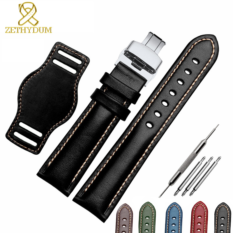 The First Layer Cowhide Genuine Leather Bracelet 18mm 20mm 21mm 22mm Watch Strap Matte Watchband With Mat Wine Wristwatches Band