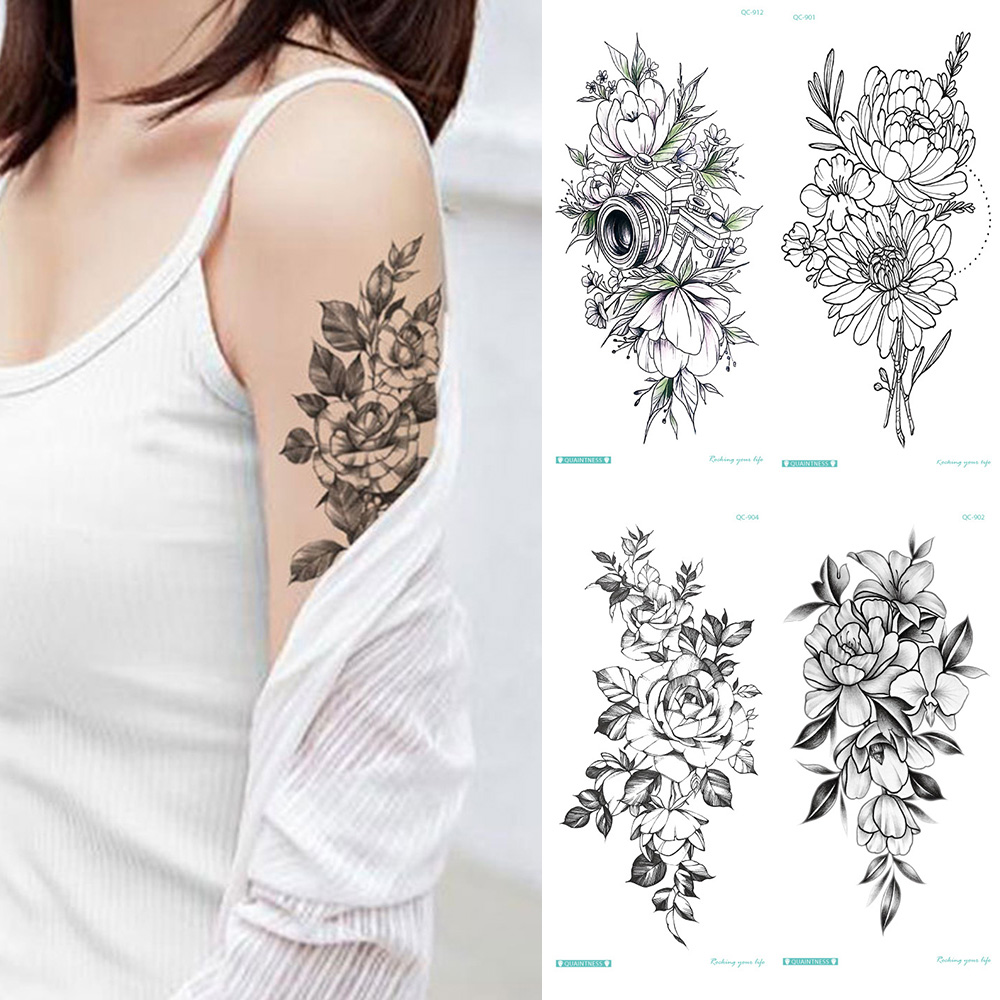 Temporary Tattoo Sticker Music Note Flower Roses Peony Sketches Tattoo Designs Sexy Girls Model Tattoos Arm Leg Black Stickers