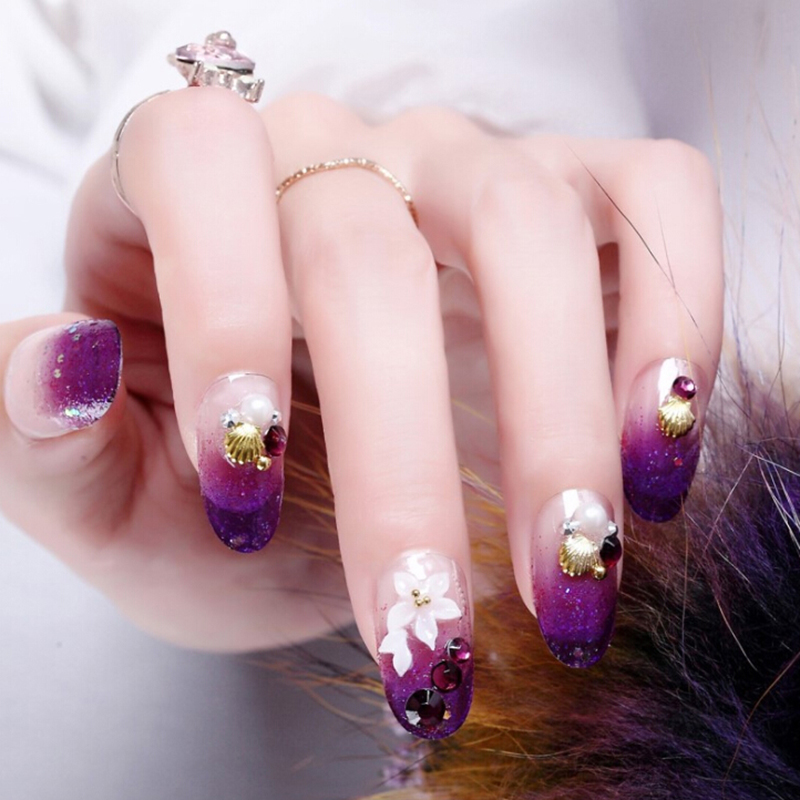 11nc108 Nail Art 3x Handmade Purple And Yellow Flower Canes