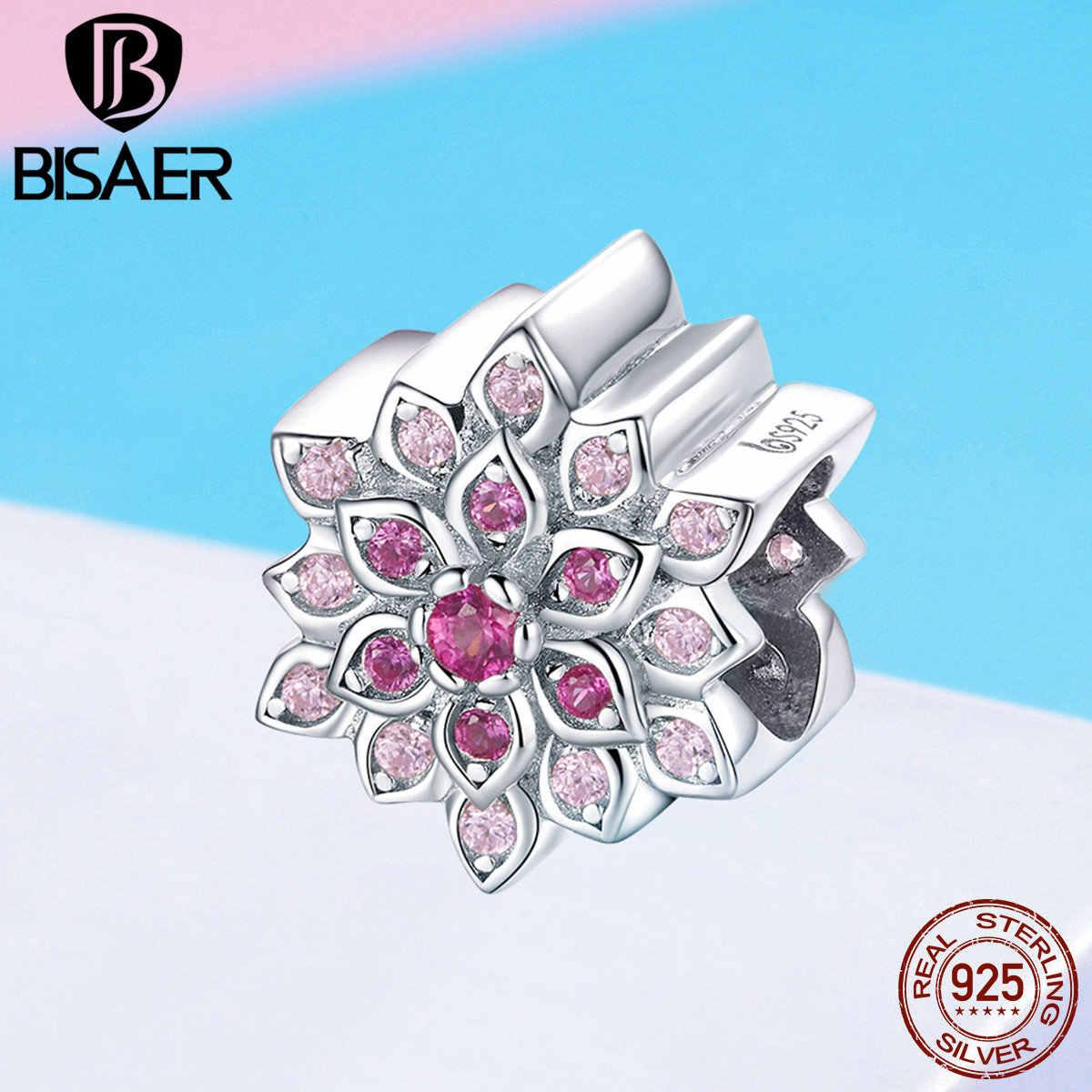 Bisaer real 925 prata esterlina rosa vermelho flor de lótus contas ajuste encantos pulseiras & pulseiras jóias de prata esterlina efc038