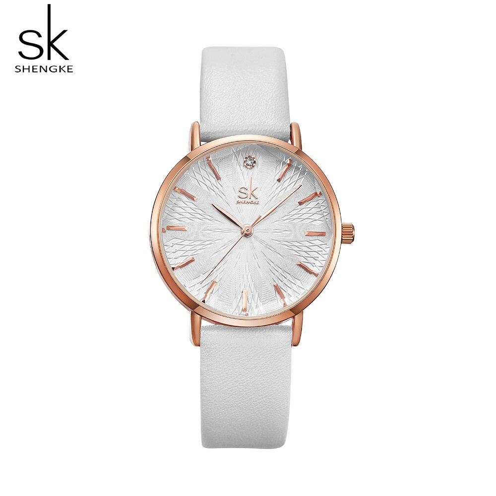 Shengke Woman Fashion Casual Watch Leather Band Analog Round Wrist Watch Quartz Watches Women Clock Reloj Mujer Elegant
