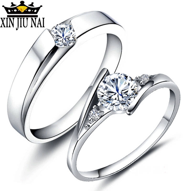 Exquisite Fashion 925 Anillos-Silver-Jewelry Crystal Rings For Women Men Sliver Color AAA CZ Lovers Engagement/Wedding Rings