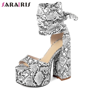 SARAIRIS Open Toe Platform Block Heels Ankle Strap Sandals Women Casual Party Clubwear Sandals Ladies Summer Shoes