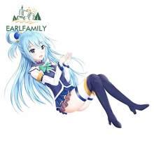 EARLFAMILY 13 см x 9,1 см для Aqua Konosuba синие волосы лобовое стекло Мультяшные автомобильные наклейки аниме наклейка на лобовое стекло для ноутбука до...