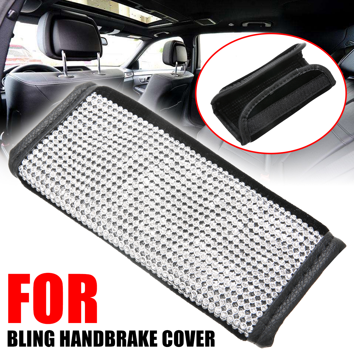 For Car Auto Interior Decor 1PC Bling Rhinestone Crystal Handbrake Decorative Cover PU Leather Hand Brake Protection