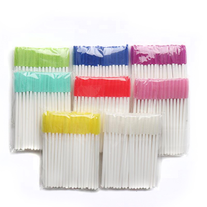 500pcs Disposable Silicone Gel Eyelash Brush Comb Mascara Wands Eye Lashes Extension Tool Professional Beauty Makeup Tools