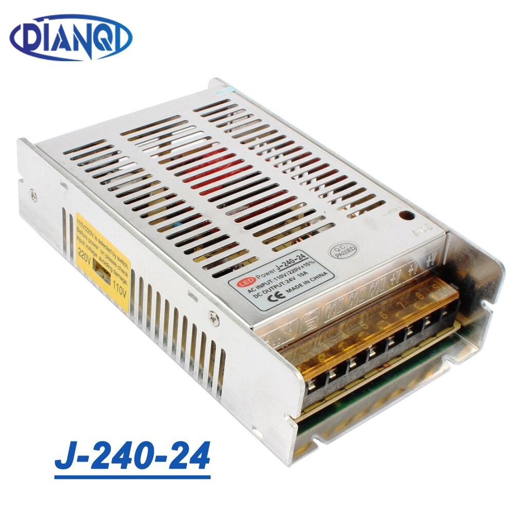 Haute qualité nouveau modèle bande 12V 20A 240W 24V 10A alimentation à découpage argent LED AC 110-220V entrée à DC 24V J-240-24