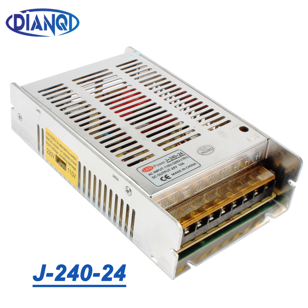 High quality new model Strip 12V <font><b>20A</b></font> 240W 24V 10A Switching Power Supply Silver LED AC 110-<font><b>220V</b></font> Input to DC 24V J-240-24 image