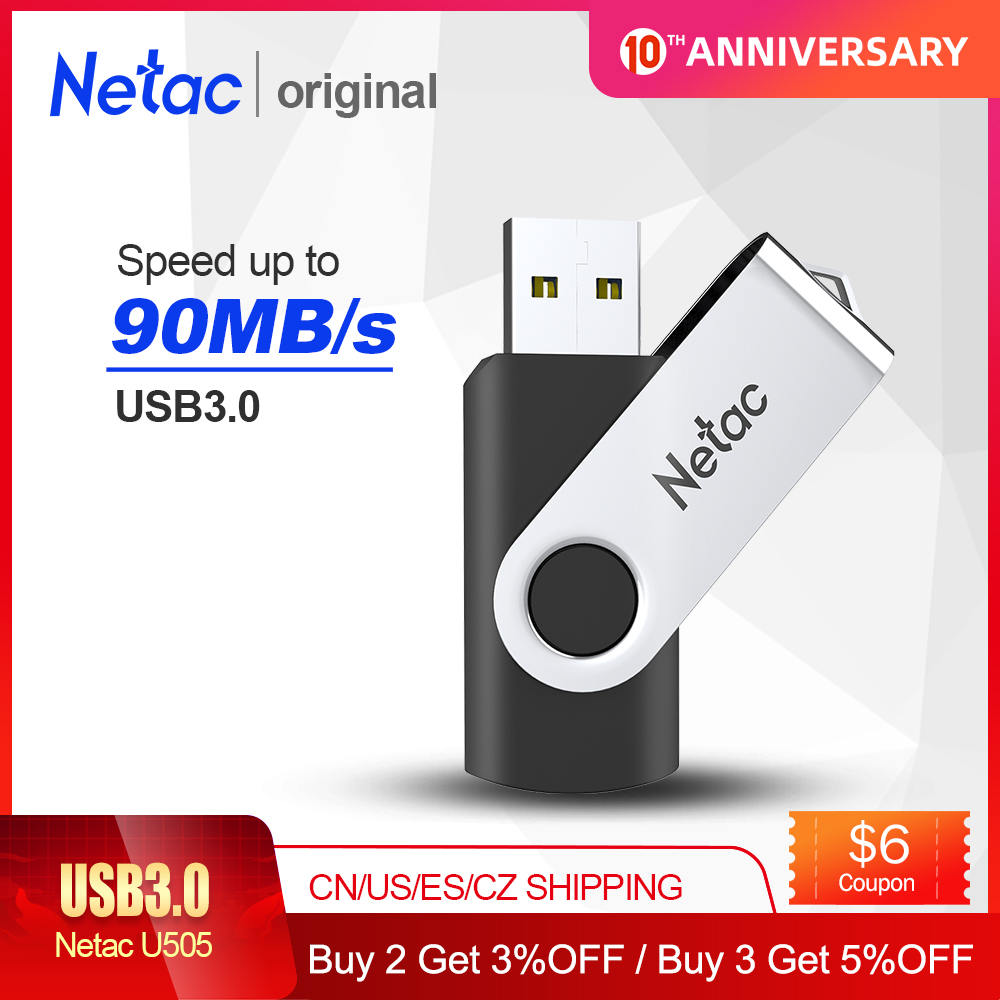 Netac Metal USB Flash Drive 64GB/32GB/16GB Black Pen Drive Pendrive USB Memory Stick 2.0 3.0 USB Disk USB Flash Storage Devices