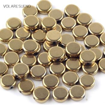 цена Natural Stone Smooth Golds Hematite Stone Flat Round Beads For Jewelry Making Spacer Loose Beads 6/8/10mm Diy Bracelet Strand15