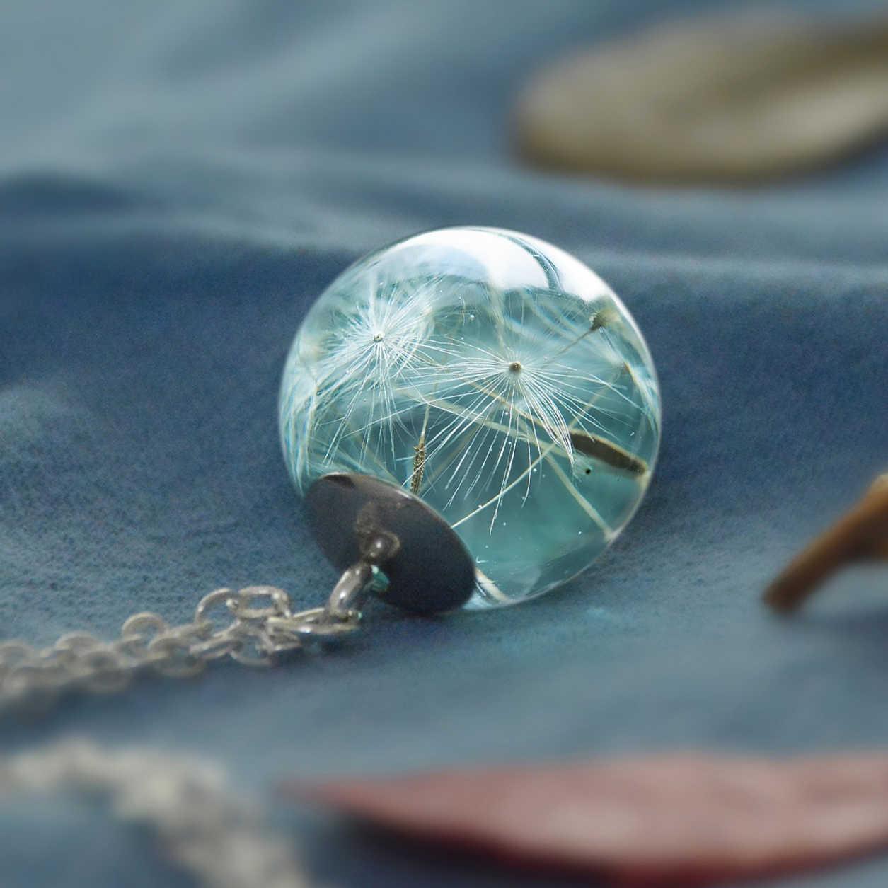 Xanh Dương Bồ Công Anh Mặt Dây Chuyền Dây Chuyền Hoa Khô Nhựa Dính Trang Sức Đồng Bạc Dây Chuyền Vòng Đeo Cổ Cho Nữ Quà Tặng Giáng Sinh
