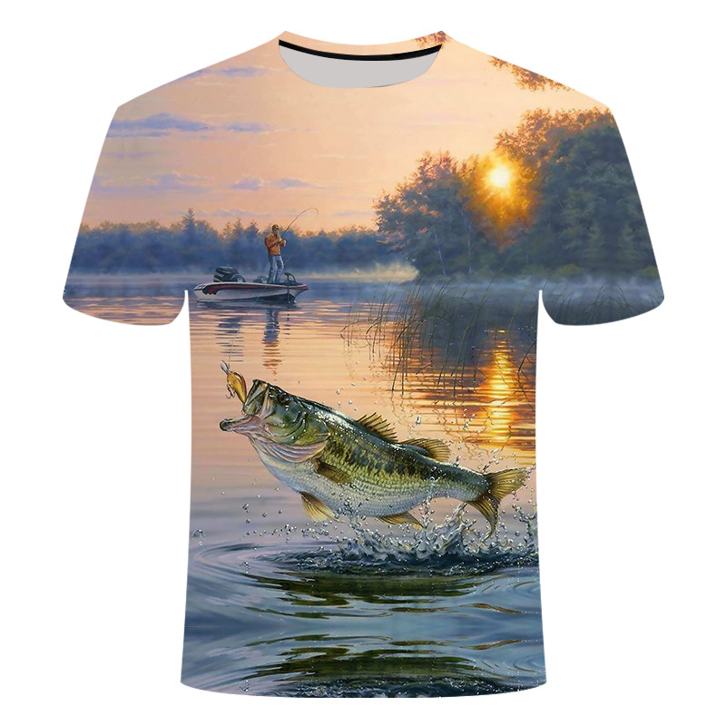 Summer 3D Printed Outdoor Fishing T-Shirt Sea Tuna/Carp Fishing Clothes Super Breathable And Comfortable Short-Sleeved Cool Top