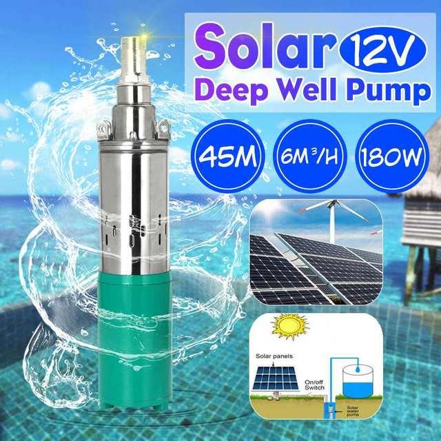 كفاءة مضخة مياه الطاقة الشمسية 12 فولت 180 واط 3000L/h 45 متر مضخة الآبار العميقة تيار مستمر المسمار مضخة غاطسة الري حديقة المنزل الزراعية