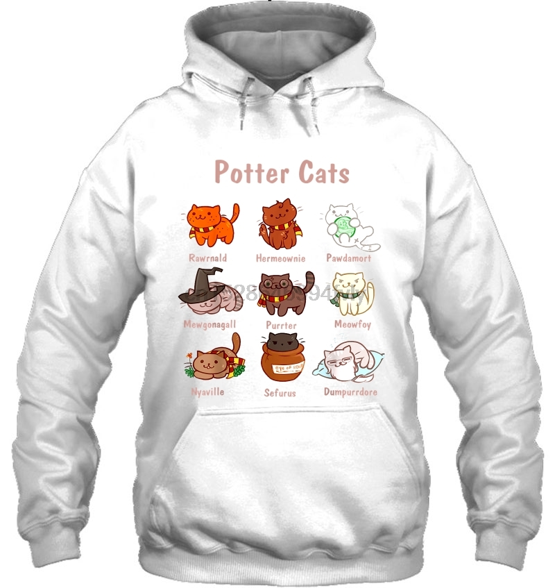 Potter Cats White Verison Women Streetwear Men Women Hoodies Sweatshirts