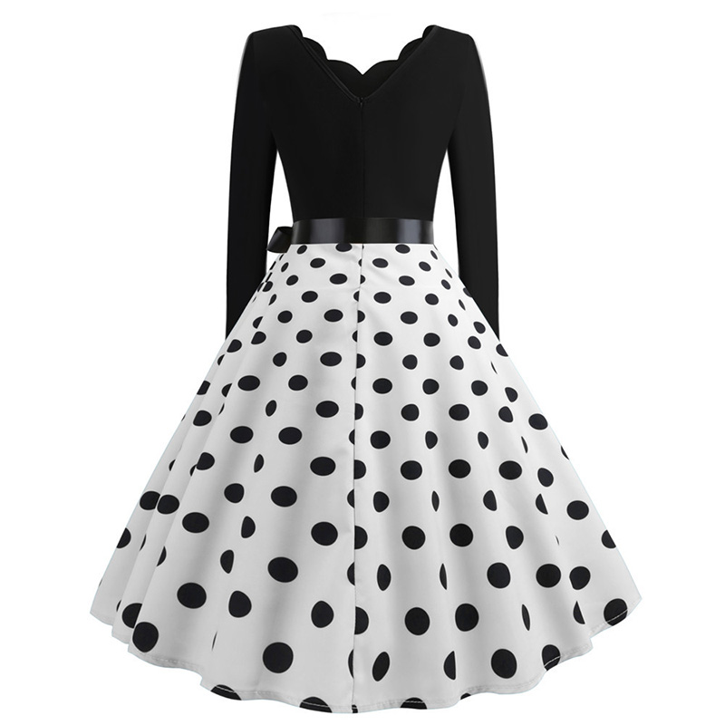 Women Long Sleeve Winter Vintage Dresses Sexy Black Music Note Print V-neck Rockabilly Pin up Party Dress Vestidos Plus size 553