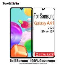 2 pçs original capa completa protetor de tela vidro temperado para samsung galaxy a41 9 h em película protetora para galaxy a 41 vidro