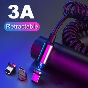 2M Magnetische Kabel Micro usb Typ C Schnelle Ladekabel Für iPhone 11 Huawei P30 Samsung Auto Ladegerät Kabel versenkbare Datenkabel