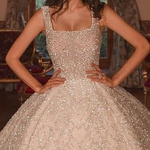 Image 2 - Luxury Beadings Appliques Bride Dresses Ball Gown Square Neck Spaghetti Straps With Train Bridal Style Long Gowns