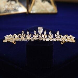 Image 3 - Bavoen Funkelnden Zirkon Hochzeit Kleid Haar Zubehör Gold Bräute Kronen Tiaras Überzogene Kristall Haarbänder Abend Haar Schmuck