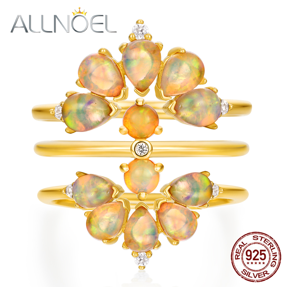 ALLNOEL Solid 925 Sterling Silver Stacking Ring For Women Bridal Set Natural Opal Rose Quartz Turquoise Gemstone Luxury Jewelry