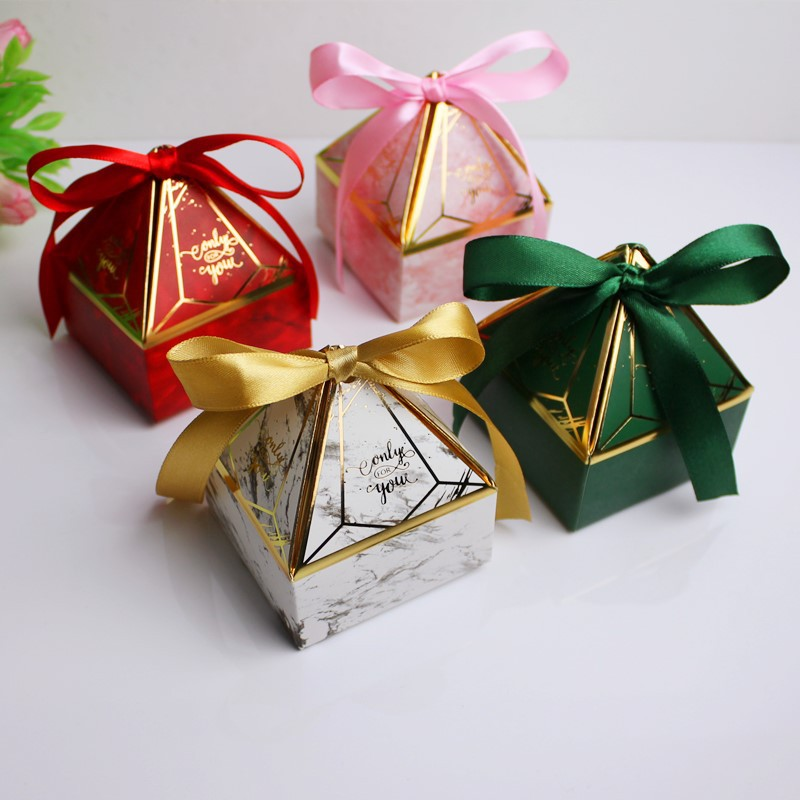 Gift Box Pagoda Diamond Shape Birthday Packaging Boxes Wedding Favor Party Sweet Paper Gift Bag Marble Candy Box With Ribbon