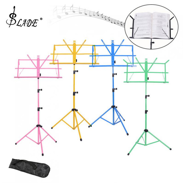 Folding Music Tripod Stand Holder Aluminum Alloy Stand Holder Height Adjustable with Carry Bag for Violin Guitar Instrument