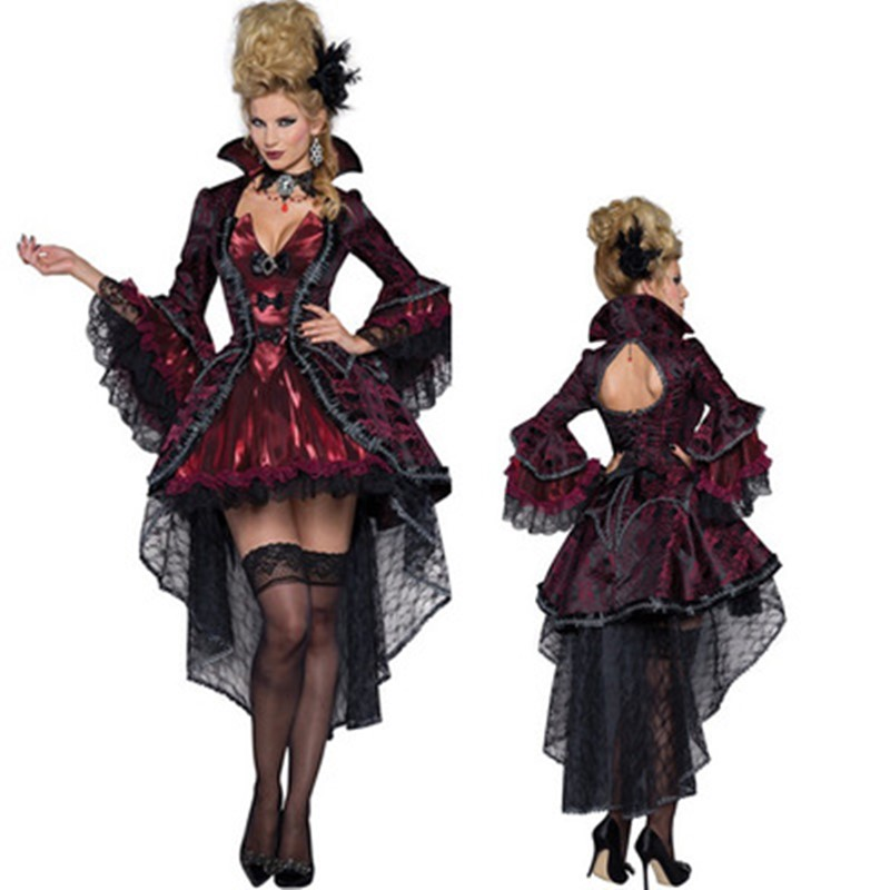 New Vampire <font><b>Queen</b></font> Witch Fancy Dress Cosplay Costumes <font><b>Sexy</b></font> Dresses For Women Female <font><b>Halloween</b></font> Party Gown Performance Uniform image