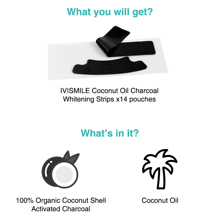 IVISMILE Remove Bad Stains Coconut Oil Teeth Whitening Charcoal Strips