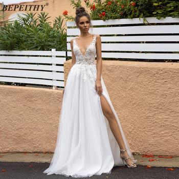 цена на BEPEITHY V neck Beach Lace Wedding Dresses 2020 With High Slit Sexy Backless Sweep Train Lace Top Bridal Wedding Dress vestidos