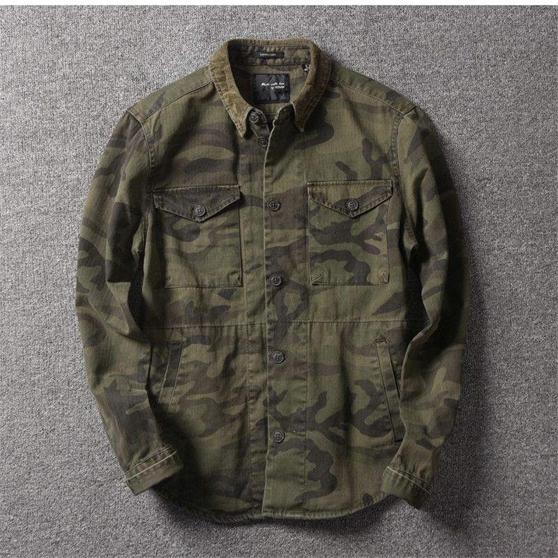 Men Autumn And Winter Fashion Brand Military Camouflage Style Vintage Long Sleeve Shirt Male Casual Thick Pocket Shirts Cloth